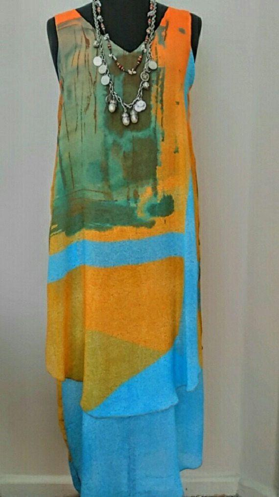 Maxi Bridesmaid Boho Dress, Abstract Print Dress, Tropical Color Dress, Party D…