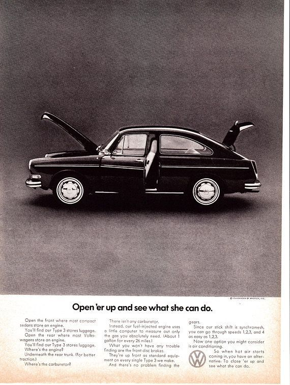 1971 Type 3 Fastback VW Volkswagen Original Magazine Ad