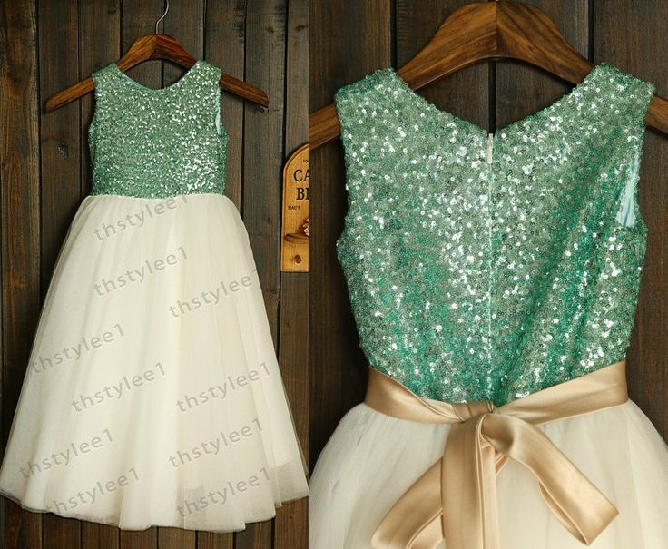 Mint Blue Sequin Ivory Tulle Flower Girl Dress with by thstylee1, $56.99