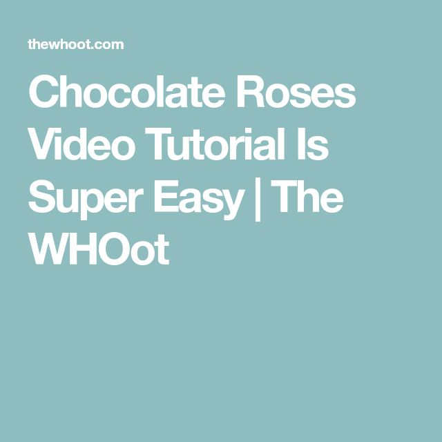 Chocolate Roses Video Tutorial Is Super Easy | The WHOot