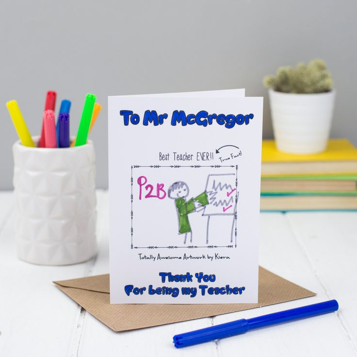 Thank you Teacher Card, Children's Colour in Card, Card for Teacher, Greetings Card by MakeWithMum on Etsy