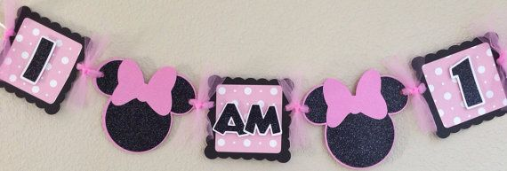 Pink Minnie Mouse High Chair Banner