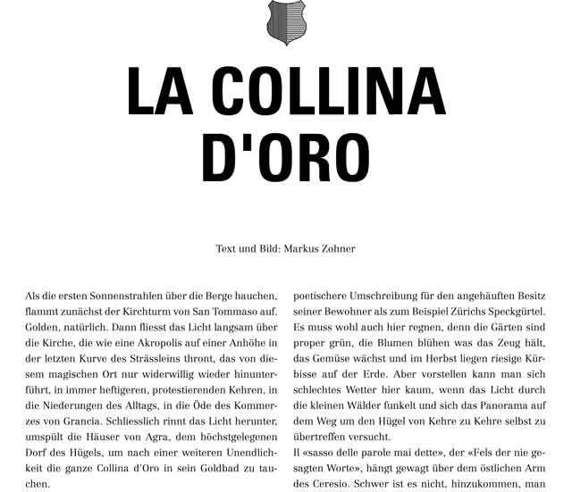 """LA COLLINA D'ORO, der goldene Hügel des Tessins. Artikel  in TRANSHELVETICA N° 7:   Eine Entdeckungsreise zum """"Goldenen Hügel"""" von Montagnola, mit Goldfunden allüberall."""