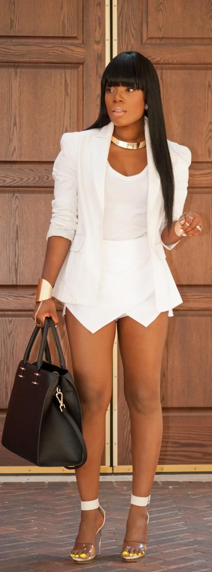 All white - not so short - elegant - different shoes - different accessories to make more classy elegant look.
