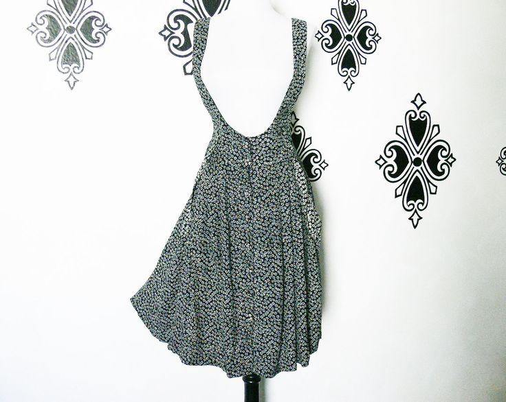 Vintage 90s Daisy Floral Black Jumper Dress Contrast Details Pockets Wide Belt Suspender Overalls by PopFizzVintage on Etsy
