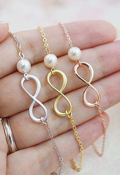 Infinity and Swarovski Pearl necklace infinity