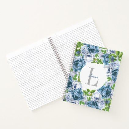 Watercolor Blue Rose Floral Personalized Notebook - initial gift idea style unique special diy