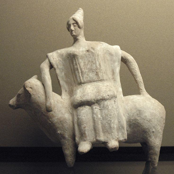 Terracotta figurine from Boeotia, ca. 470 BC–450 BC. Link: http://casaindiasricaitanyamahaprabhu.blog.com/2009/04/21/europa-mythology/