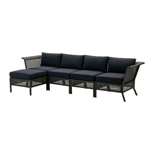 IKEA - KUNGSHOLMEN / KUNGSÖ, 4-seat sofa with footstool, outdoor, , By combining different seating sections you can create a sofa in a shape and size that perfectly suits your outdoor space.</t><t>Durable, weather-resistant and maintenance free since it's made of plastic rattan and rustproof aluminum.</t><t>The color stays fresh longer as the cover is fade resistant.</t><t>The cover is easy to keep clean because it is removable and machine washable.</t><t>The cushion has a longer life ...