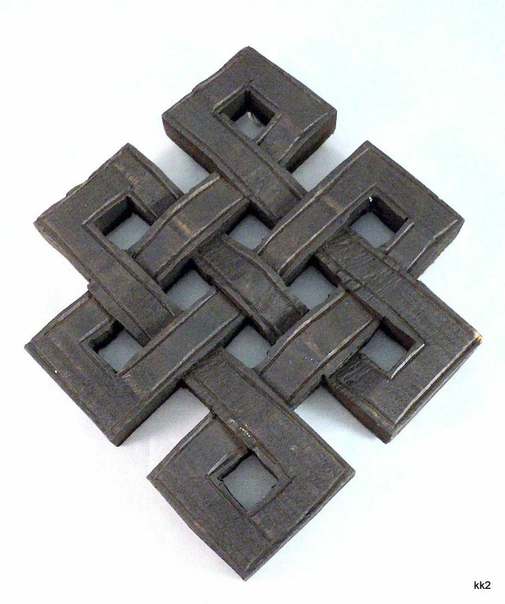 Tibetan Buddhist Endless Knot Auspicious Wall Hanging Handcarved Wood - Nepal