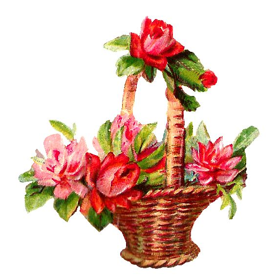Clipart Flower Baskets : Red flowers basket clipart png ? printable