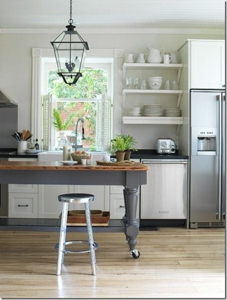 Perfect kitchen island inspiration: Kitchens, Interior, Open Shelves, Kitchen Design, Kitchen Table, House, Kitchen Ideas, Kitchen Islands, Open Shelving