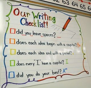 Great first grade writing checklist/anchor chart to remind students what they need in their writing