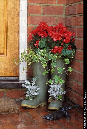 Worn out boots can be used as a planter which gives them a new lease of live. As with tires, wellies are made from vulcanized rubber meaning they will not degrade.  By drilling holes in the bottom, adding a layer of stones or crocks and filling with compost you have an interesting feature that doesn't take up lots of room.