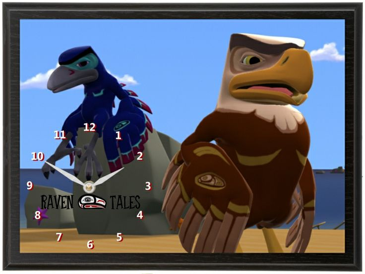 Raven Tales is series of half-hour CGI-animated television programs. We did a couple clocks for Vancouver Artist and Producer Winadzi James including this Raven and Eagle Clock. The show is targeted at school-age children and their families to introduce Aboriginal folklore in a humorous and entertaining way.