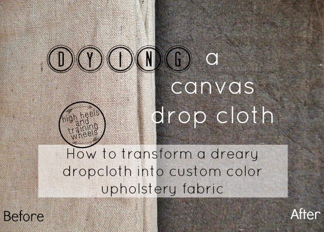 Make your own custom fabric!! Transforming a Drop Cloth With RIT Fabric Dye. Learn how to mix any custom color to turn a drop cloth into inexpensive, usable fabric for any project.