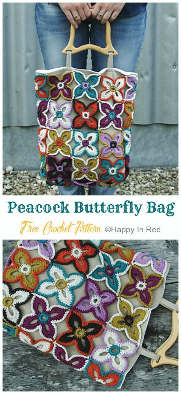 Peacock Butterfly Bag Crochet Free Pattern – Tote #Bag; Free #Crochet; Patterns