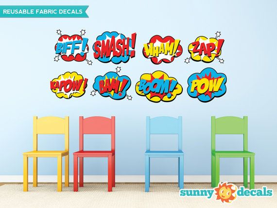 Superhero Fabric Wall Decals, Set of 8 Comic Book Word Bursts, Pow, Boom, Smash, Wham and more, 2 Sizes to Choose From, Repositionable