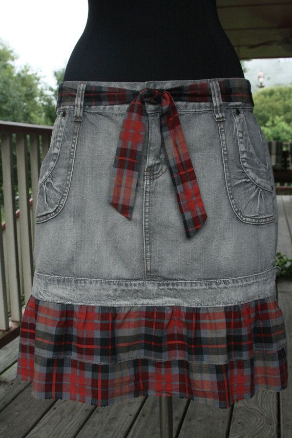 Red Plaid  Gray Denim Prairie Cowgirl Tattered Skirt with Matching Belt - Upcycled