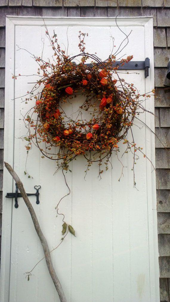 Fresh Bittersweet and Japanese Lantern Wreath by scarletsmile