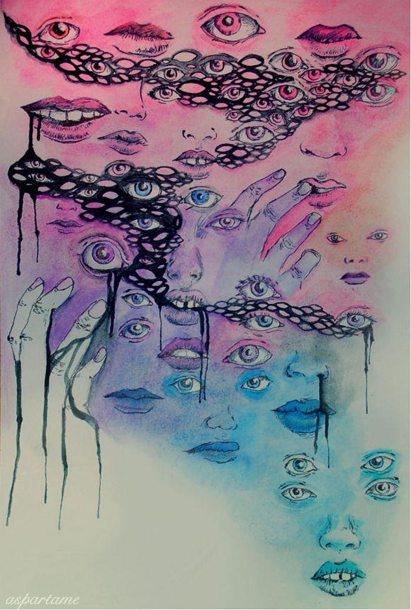 pastels, neons, eyes, lips, artwork, watercolor, watercolors, weekly inspirations, audrey kitching
