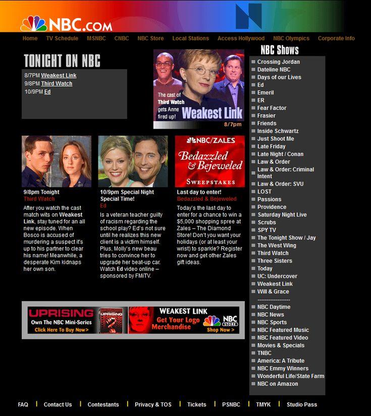 NBC website in 2001
