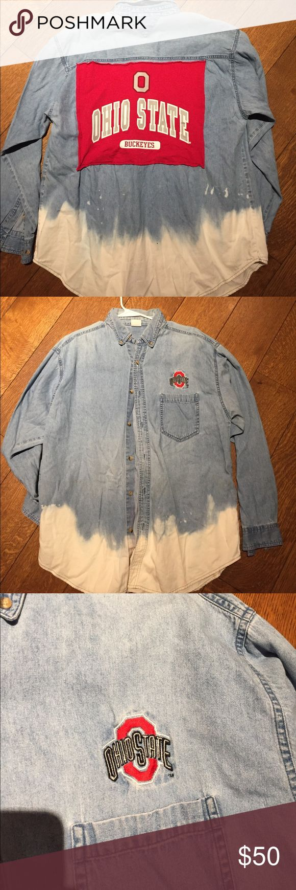 Ohio State University apparel Handmade dip-dyed jean material button down. Embroidered logo on front. Nike Tops