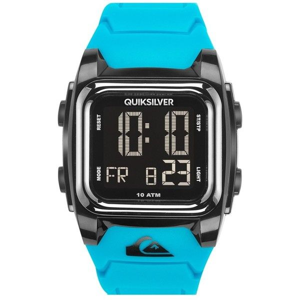 Quiksilver 'The Grom' Silicone Strap Watch, 43mm ($50) ❤ liked on Polyvore featuring men's fashion, men's jewelry, men's watches, blue, mens sports watches, mens blue watches and mens sport watches
