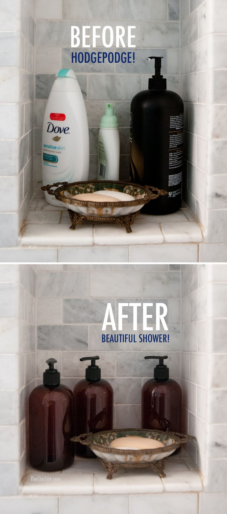 Shower Organization Before and After: Great staging idea to use when a home is occupied. www.HomematchNW.com #homematchnw #kerryannpray