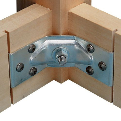 """Corner Brace, Table Leg (1) by Hafele America. $1.75. For simple and economical attachment of table legs to frames, use this corner brace. Ends of the brace are set into grooves in the frame, and hanger bolts then attach leg to the brace. Heavy galvanized steel. 1-1/2"""" x 4"""".  Mounting screws and hanger bolts not included."""
