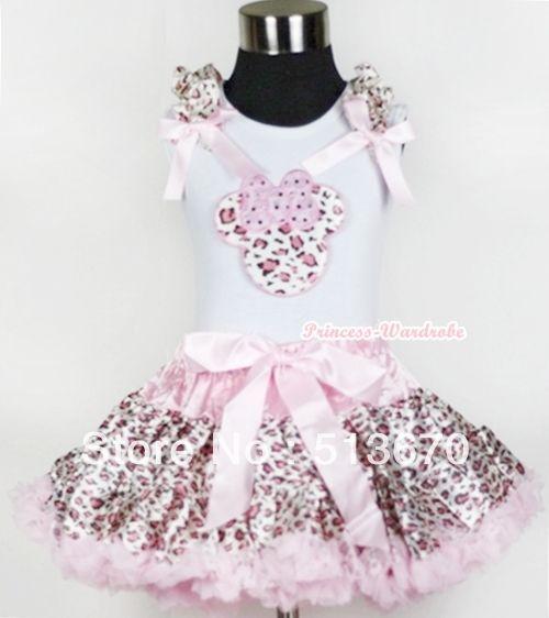 Белой майке с розовый леопард минни печать с светло-розовый леопард оборками и розовым бантом и розовый леопард юбка MAMG555