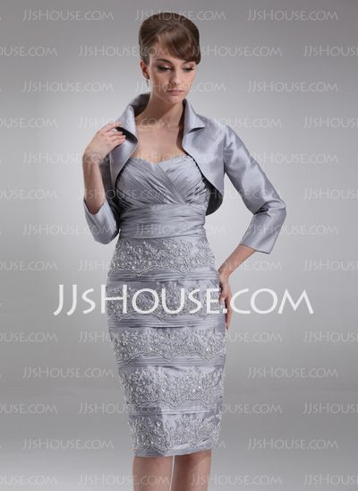 Mother of the Bride Dresses - $140.49 - Sheath Sweetheart Knee-Length Taffeta Mother of the Bride Dress With Ruffle Lace Sequins (008006511) http://jjshouse.com/Sheath-Sweetheart-Knee-Length-Taffeta-Mother-Of-The-Bride-Dress-With-Ruffle-Lace-Sequins-008006511-g6511
