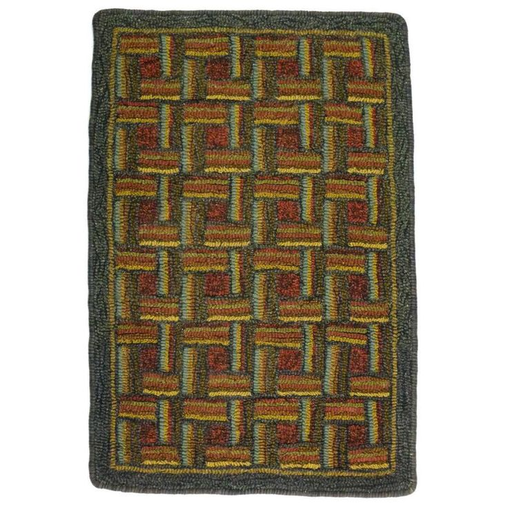 Match Stick Patterned Hand Hooked Rug, 2' x 3'