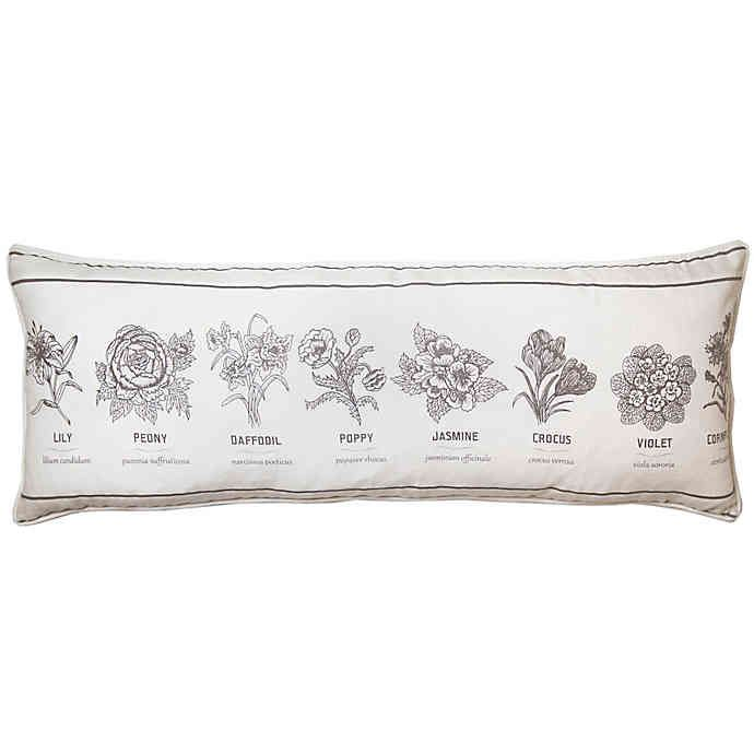 Bee Willow Home Flower Types Oblong Throw Pillow In Ivory Bed Bath Beyond Oblong Throw Pillow Bed Bath And Beyond Throw Pillows