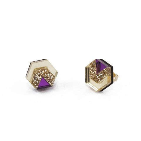 Gold/Gold Glitter/Purple Little Hex Studs by Wolf & Moon