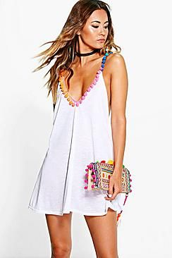 Maisie Multi Coloured Pom Pom Beach Dress