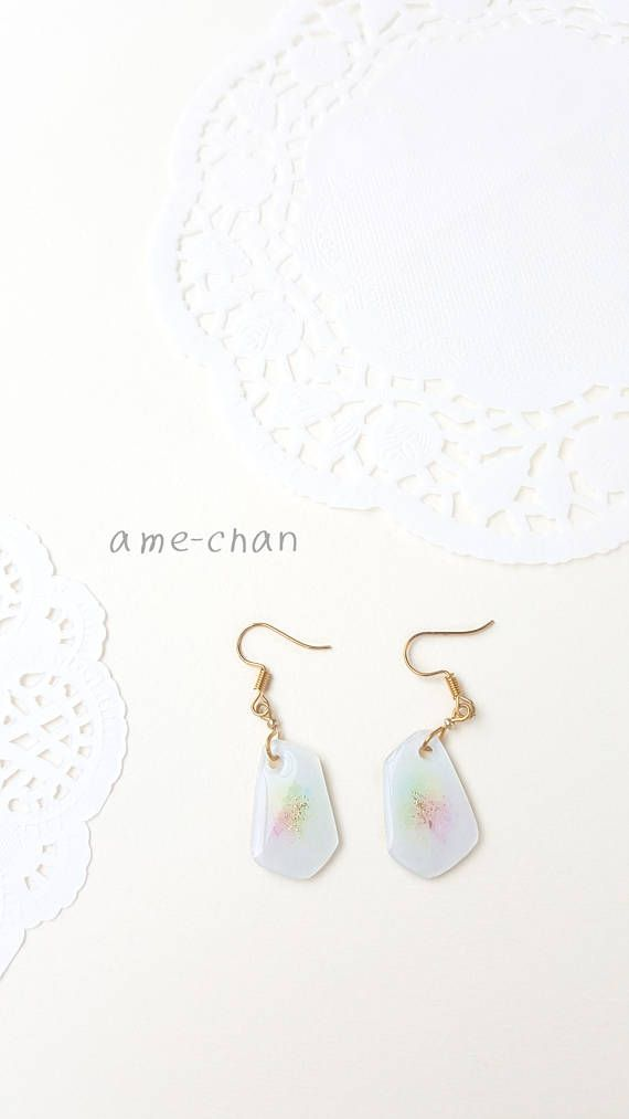 White  Pastel  Charm  Rainbow  Colorful  canvas  earring