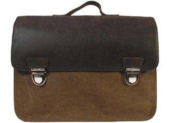 vintage grote bruine lederen/canvas boekentas