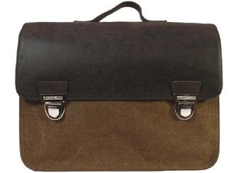 cartable Vintage cuir/toile brun