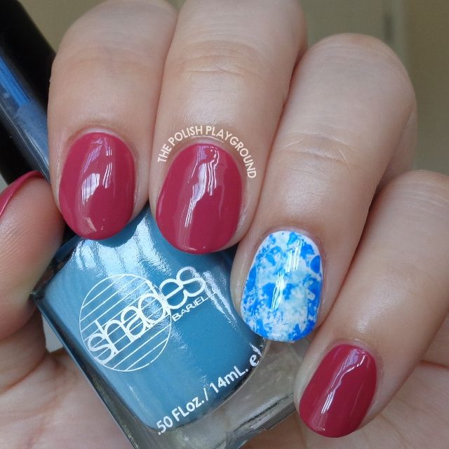 Fall Pink with Blue Saran Wrap Accent