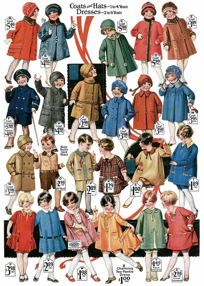 Children's clothing-Montgomery Ward fashions of the 20s   http://www.doverpublications.com