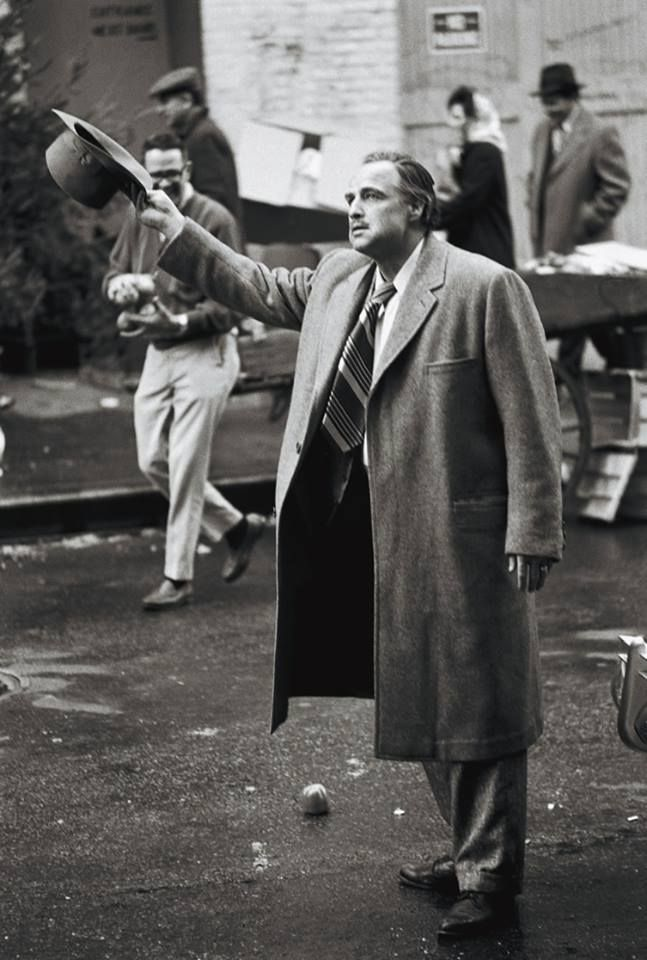 Maron Brando on the set of 'The Godfather', Francis Ford Coppola, 1972