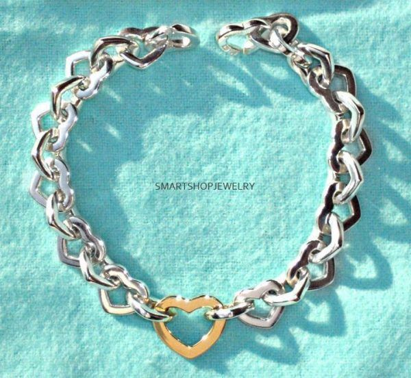 38d2b65a987 $441 TIFFANY & CO. IMPRESSIVE VINTAGE TIFFANY & CO STERLING/18K GOLD HEART  LINK
