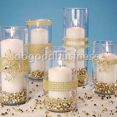 1m hágalo usted mismo Diamante Plateado Malla Rhinestone Wraps Cinta Boda Fiesta Nupcial Decoración