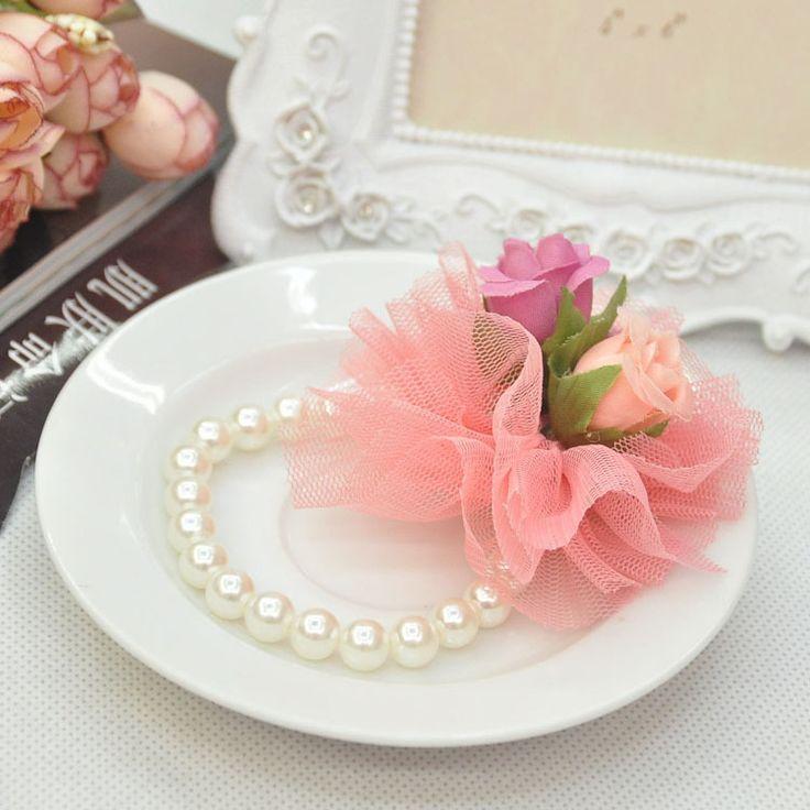 2014 hot slae Cream Wedding Feather Faux Pearl Rhinestone Wrist Flower Corsage Bracelet children pearl lace