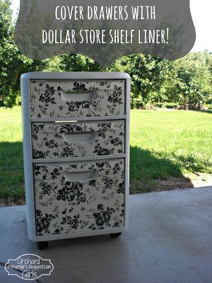 Orchard Girls: Thrifty Thursday: Cover Drawers with Dollar Store Shelf Liner! - great way to dress up Rubbermaid organizers for an unfinished basement