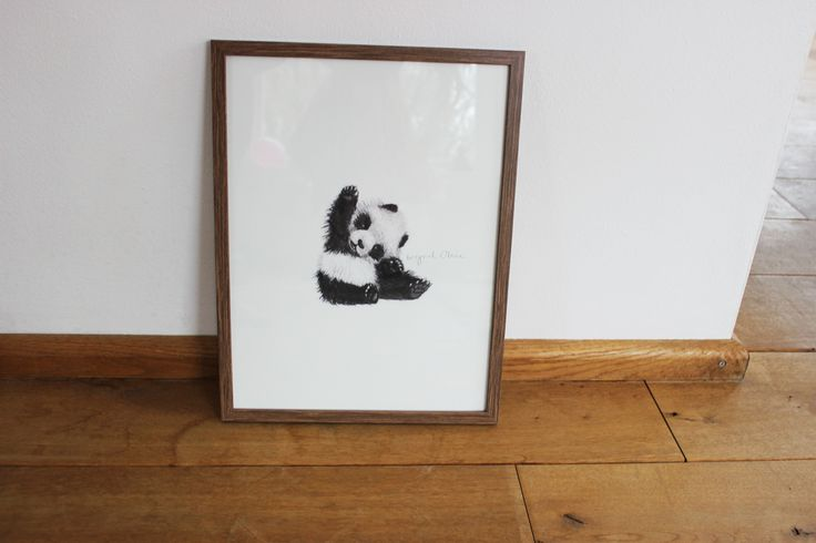 www.ingridoline.com   Panda print, made by Ingrid Oline.   Elephant, art, love, elefant, animal, painting, gouach, giraffe, sketch, print, etsy, pro, talent, realistic, cartoon, frame, bolia, brown, panda