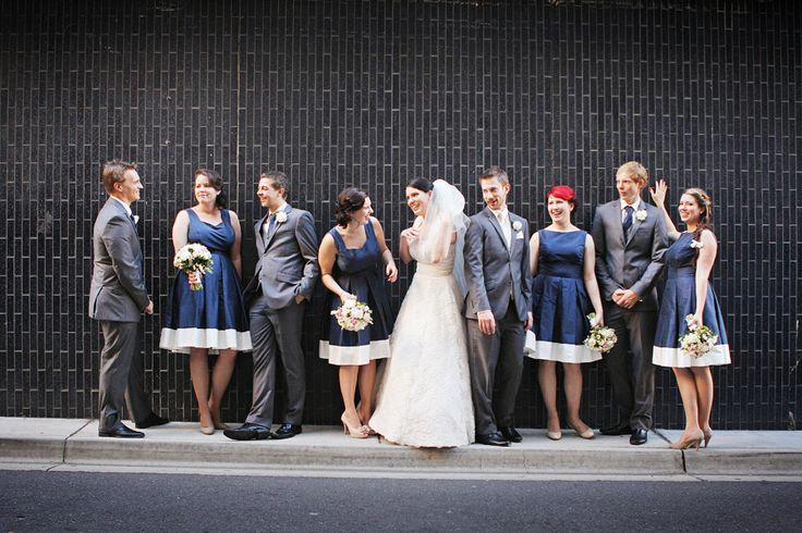 Bridal party + black wall