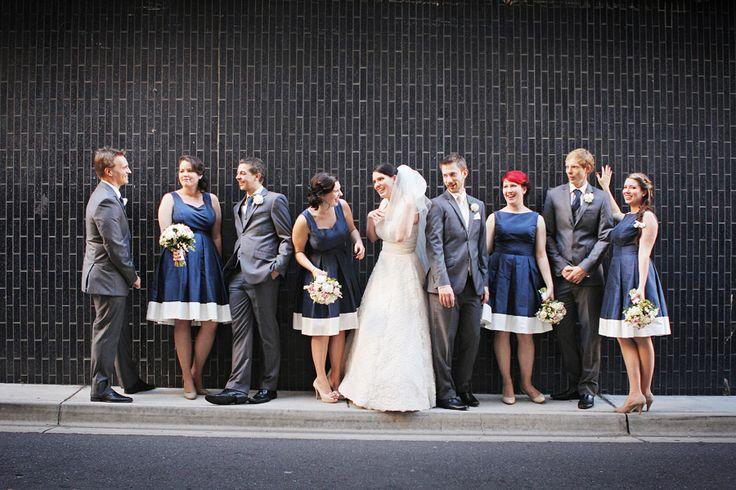 Bridal party + black wall