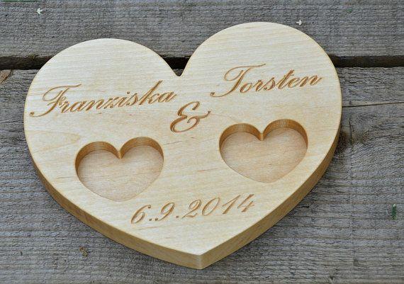 Personalized Wood Wedding Ring Bearer Pillow by KlikKlakBlocks